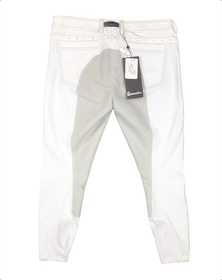 Cavallo Curly Full Seat Breeches in White - Women's US 32R | L