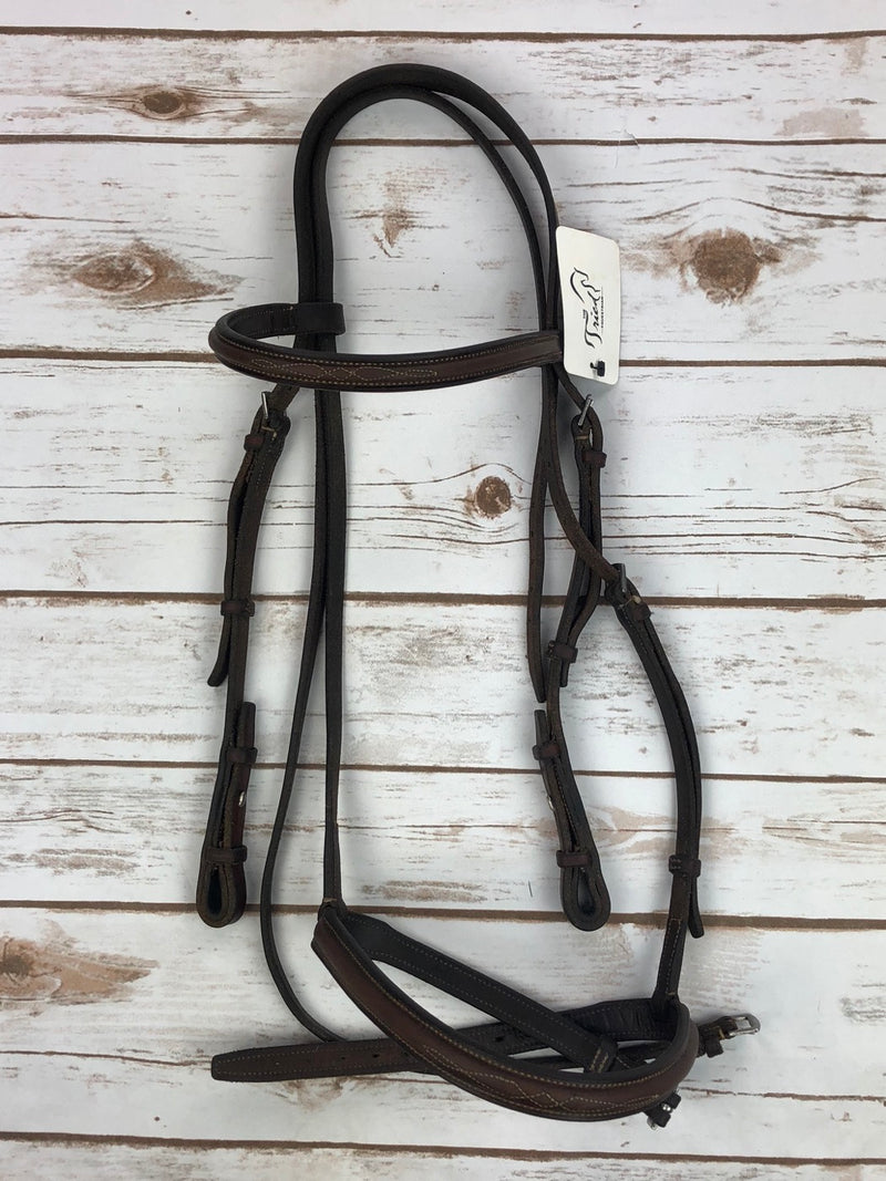 New Cavalry Fancy Stitch Bridle in Brown - Full Size