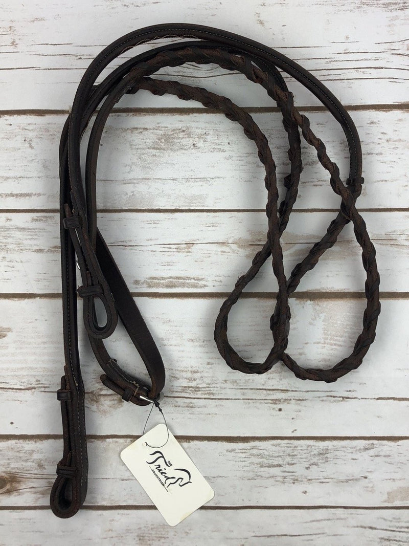 Edgewood Fancy Raised Laced Reins in Oiled Newmarket - Full Size