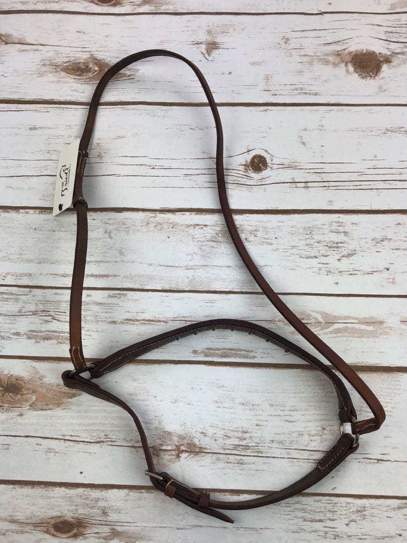 Studded Drop Noseband in Brown - Horse Size