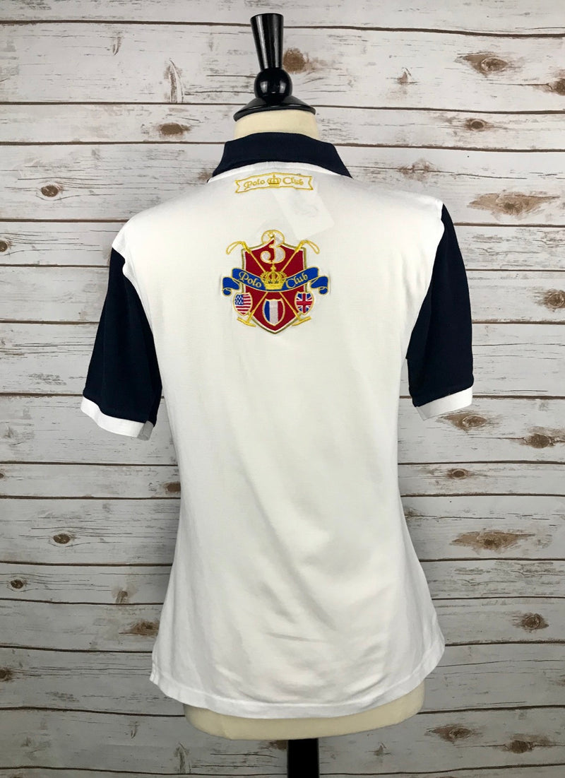 Cannes Polo Club Polo in White/Navy - Unisex Small