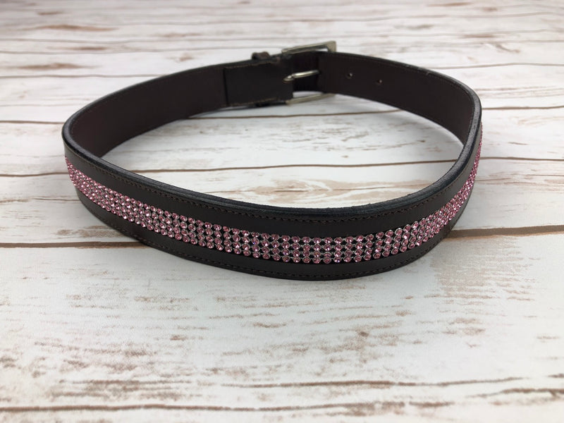 Equine Couture Bling Leather Belt in Brown/Pink - Size 26