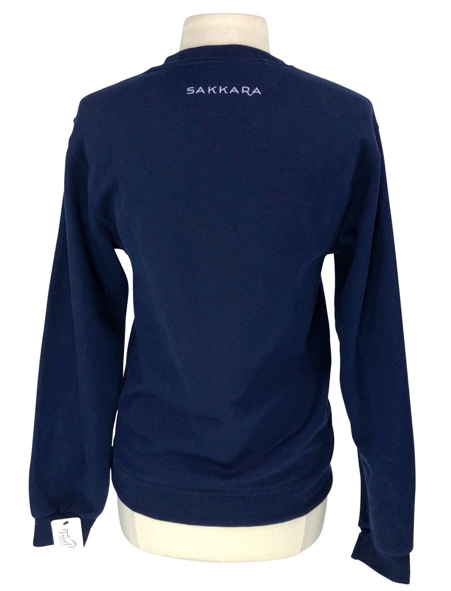 Sakkara Equestrian Crewneck Pullover Sweatshirt in Navy - Approx. Women's Small