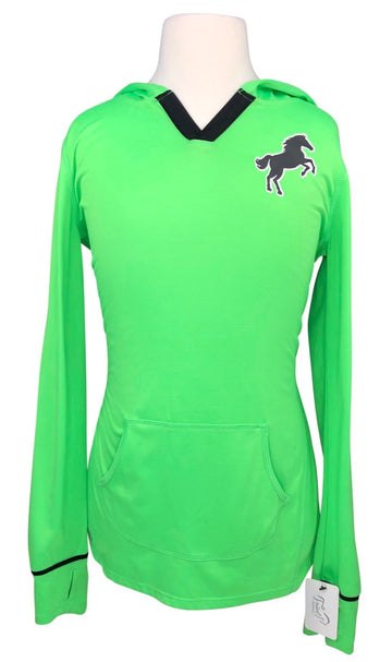 Justice Equestrian Hooded Pullover in Neon Green - Children's 12 | M