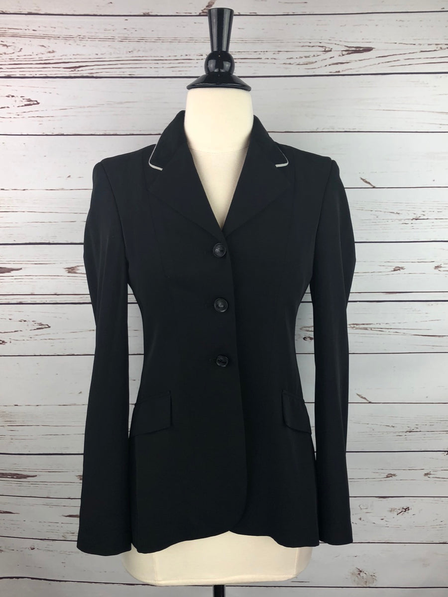 Grand Prix TechLite Hunt Coat in Black/Grey Piping - Front View