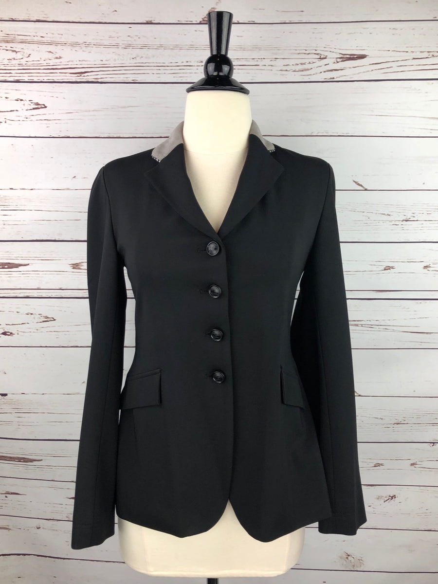 Grand Prix Washable Show Jacket in Black/Grey Collar -  Front View