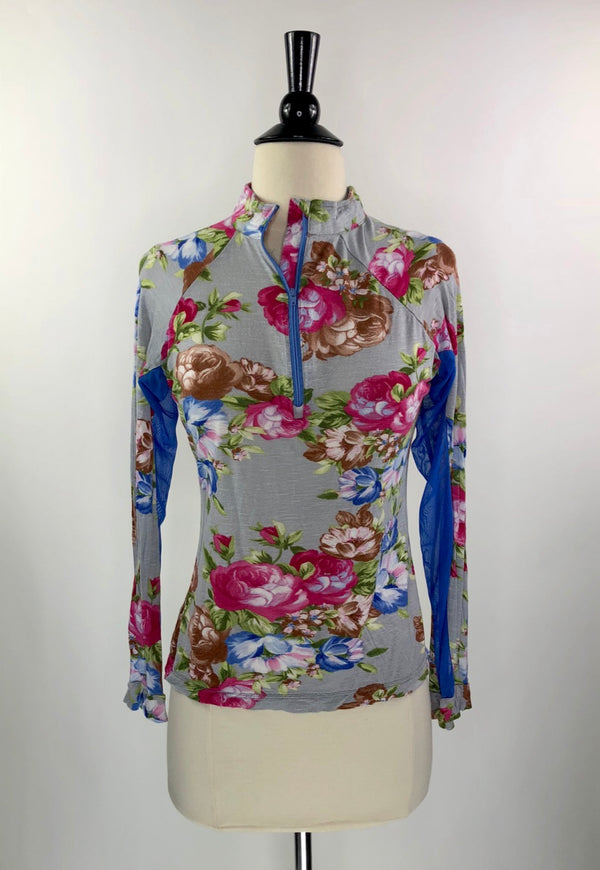 It's A Haggerty's Sun Shirt in Blue/Pink Floral - Women's Small