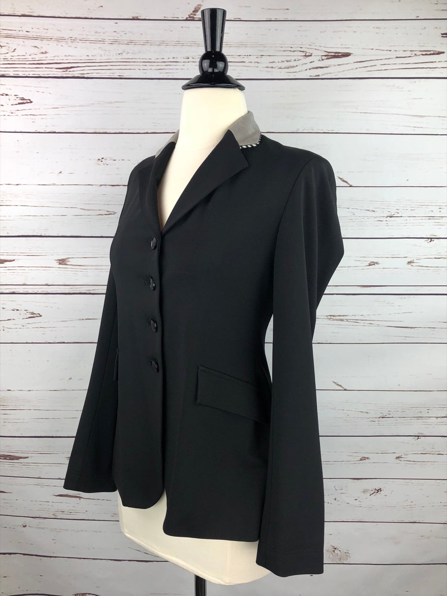 Grand Prix Washable Show Jacket in Black/Grey Collar -  Left Side View