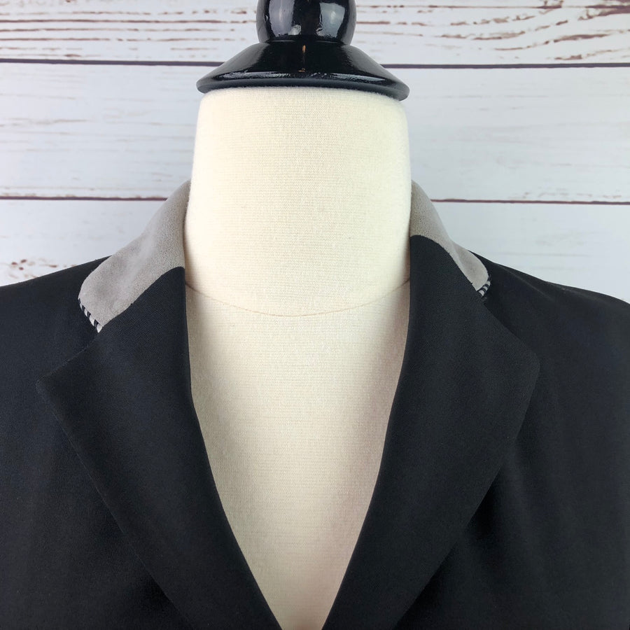 Grand Prix Washable Show Jacket in Black/Grey Collar - Collar View 2