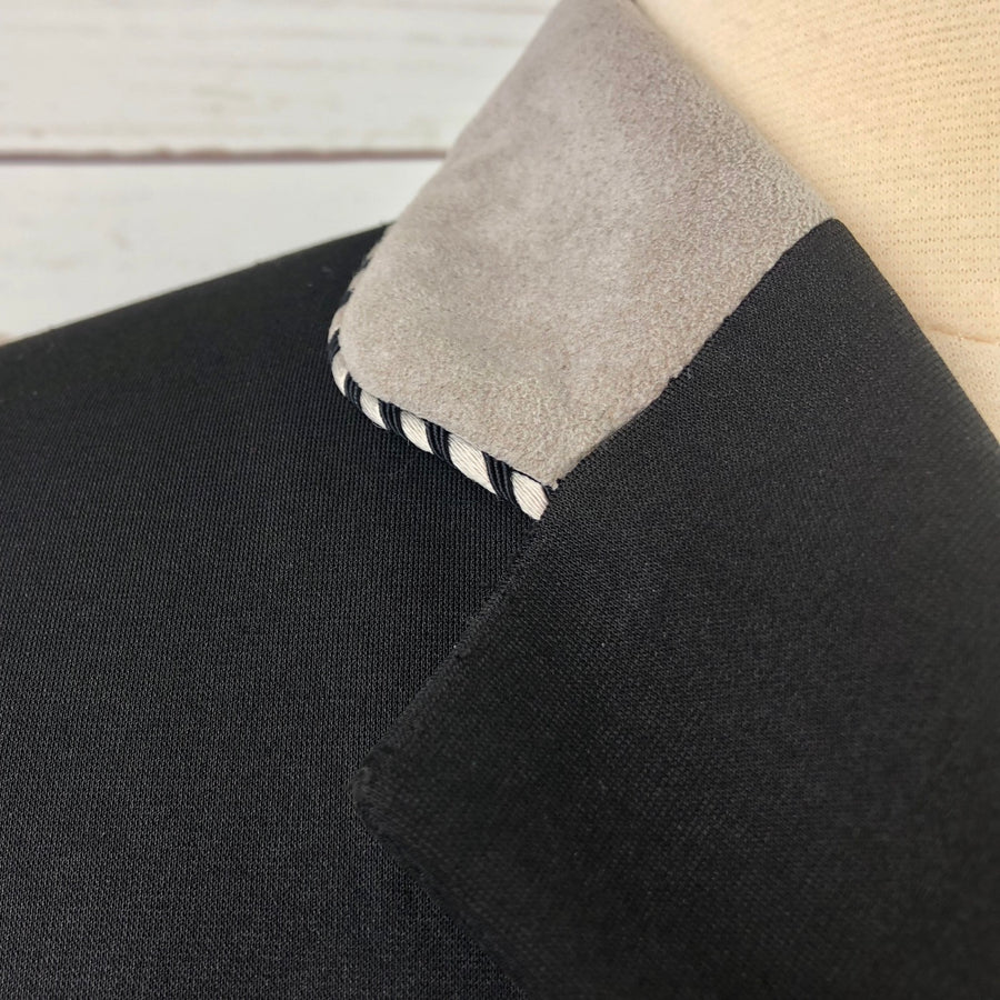 Grand Prix Washable Show Jacket in Black/Grey Collar -  Collar View