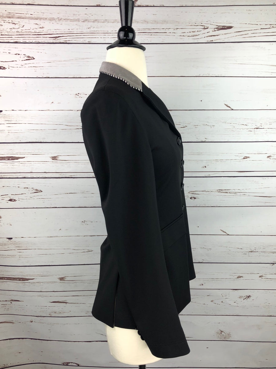 Grand Prix Washable Show Jacket in Black/Grey Collar -  Right Side View