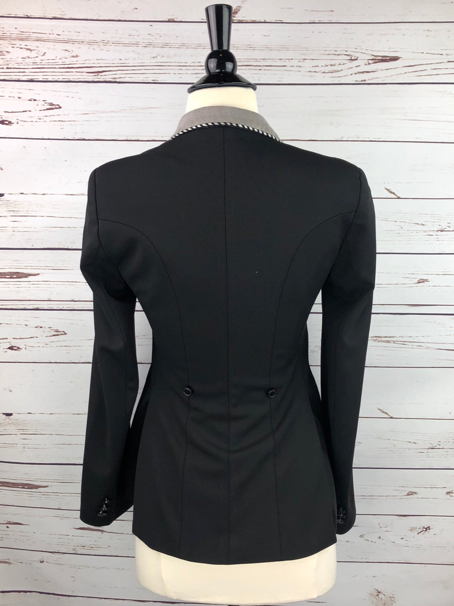 Grand Prix Washable Show Jacket in Black/Grey Collar -  Back View