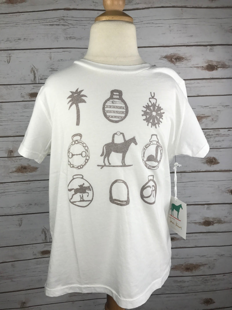 Tara Kiwi Horse Brasses Tee in White - Children's 6