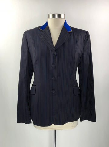 Stable Cloth Custom Hunt Coat in Brown/Royal Blue Stripe - Approx. Women's US 10 | M