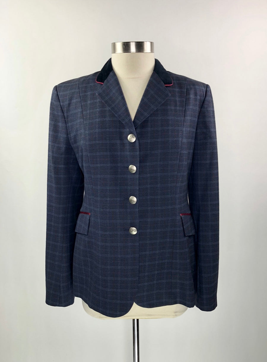 Stable Cloth Custom Hunt Coat in Grey Plaid w/Burgundy Piping - Approx. Women's US 10 | M