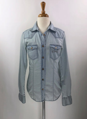 Animo Paola Denim Shirt in Light Blue- Front View