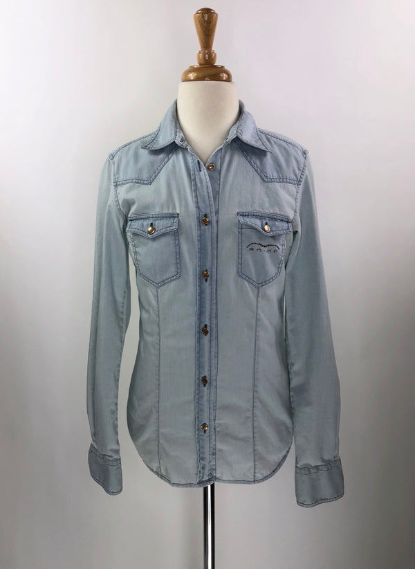 Animo Paola Denim Shirt in Light Blue - Women's IT 38