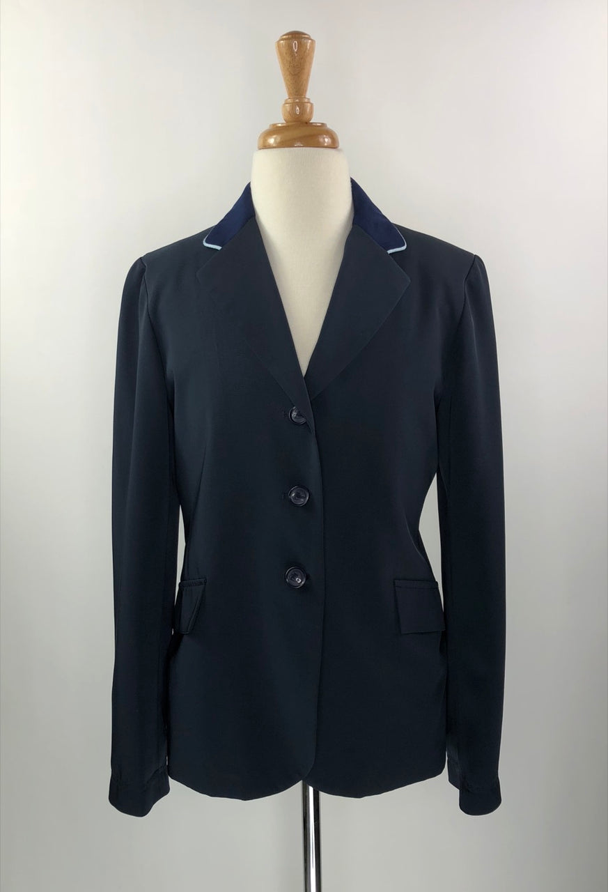 Grand Prix TechLite Show Jacket in Navy w/ Suede Collar & Piping - Children's 16R
