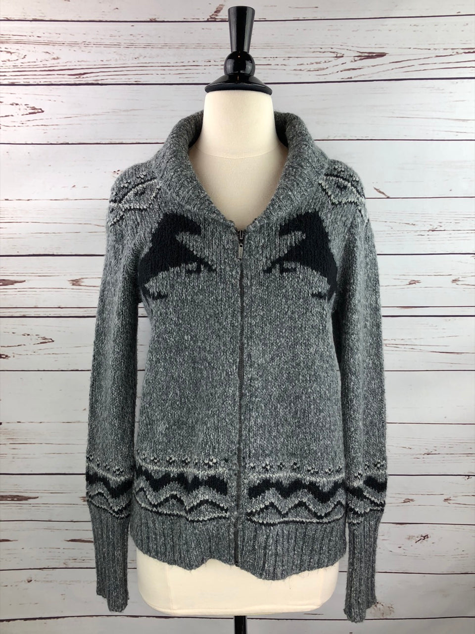 Eric and Lani Horse Zip Cardigan in Heather Grey Combo - Women's Small