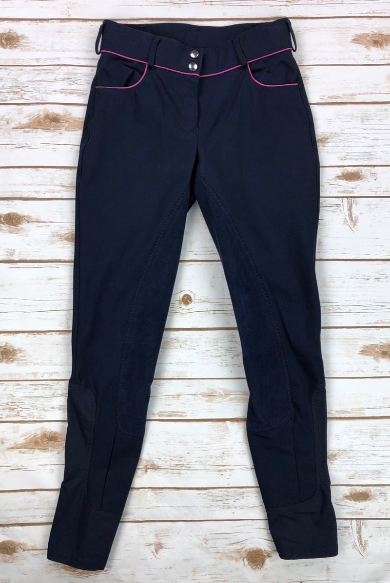 Dover Full Seat Breeches w/Piping in Navy/Pink - Women's 26