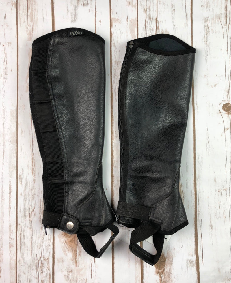 Saxon Equileather Half Chaps in Black - Children's Large