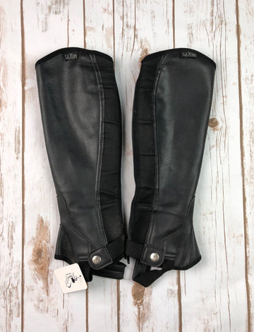 Saxon Equileather Half Chaps in Black - Children's L