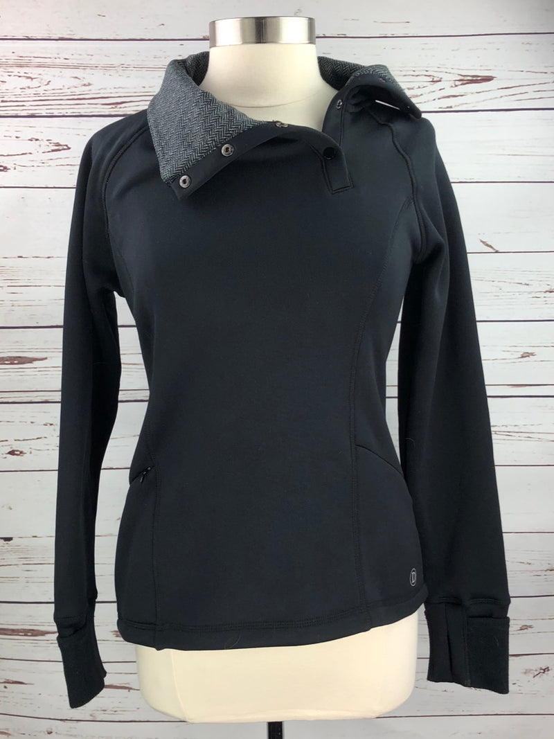 Dover Saddlery Cowl Neck Pullover in Black/Herringbone - Women's Medium