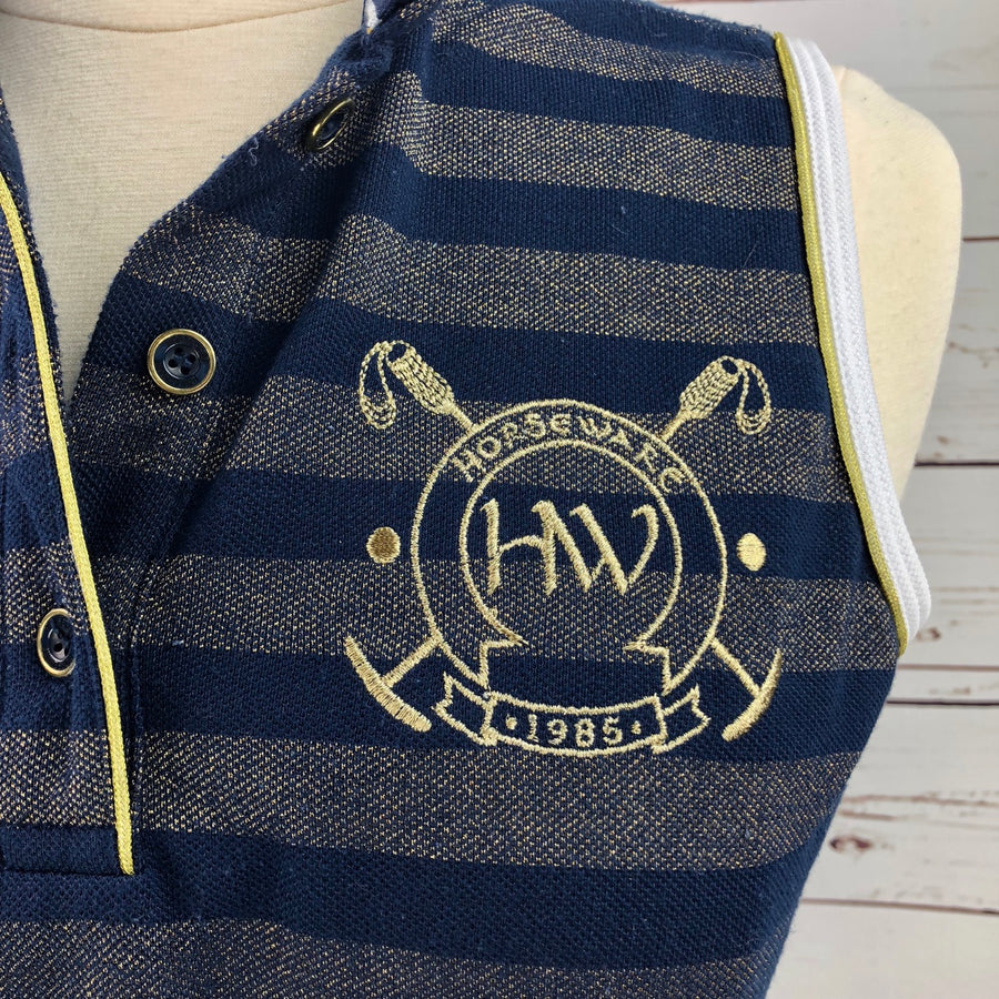 Horseware Metallic Sleeveless Polo in Navy/Gold Stripe -  Logo View