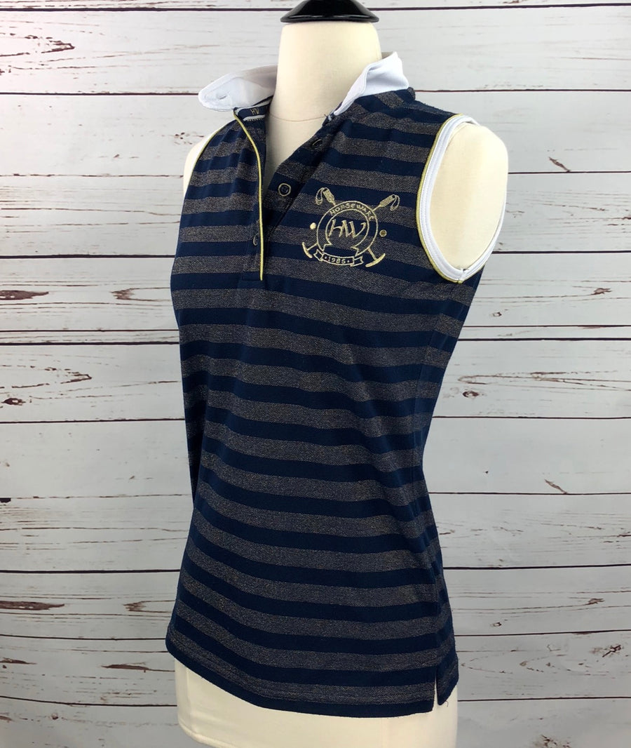 Horseware Metallic Sleeveless Polo in Navy/Gold Stripe -  Left Side View
