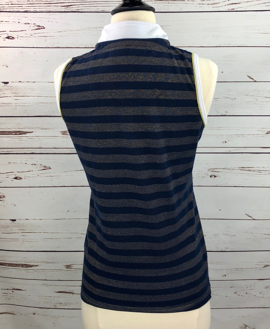 Horseware Metallic Sleeveless Polo in Navy/Gold Stripe -  Back View