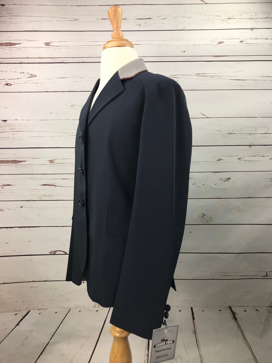 Grand Prix TechLite Show Jacket in Navy/Grey Collar - Left Side View