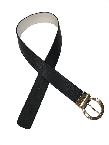 front view of Asmar Equestrian Signature Reversible Leather Belt in Black