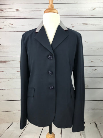 Grand Prix TechLite Show Jacket in Navy/Grey Collar - Front View