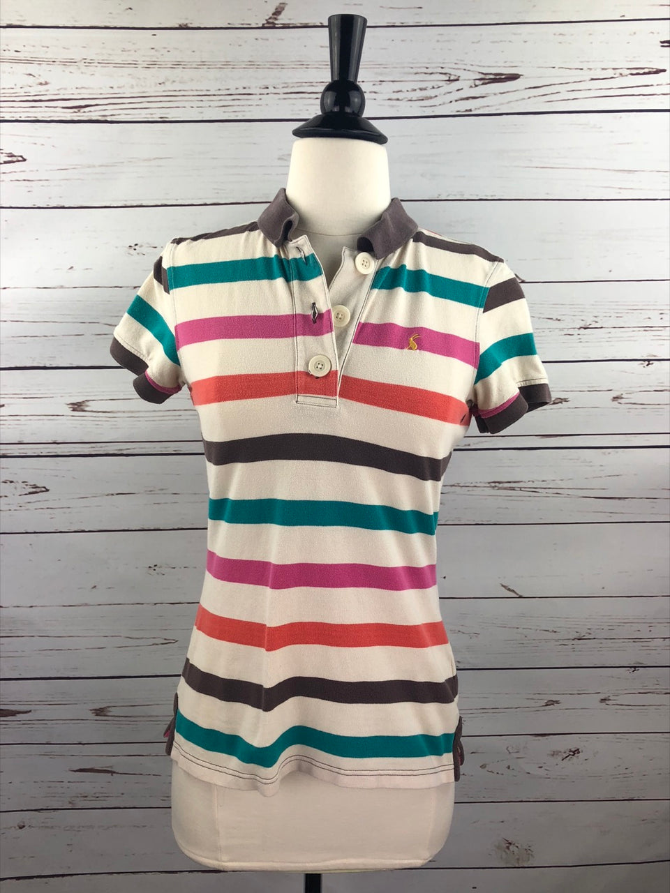 Joules Stripe Polo in Multi Stripe - Women's Small