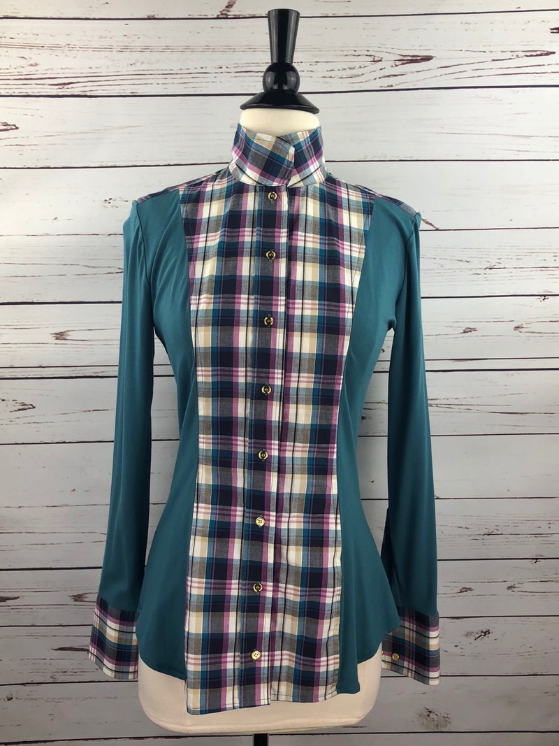 Le Fash Open Placket Shirt in Teal/Purple Plaid - Women's Small
