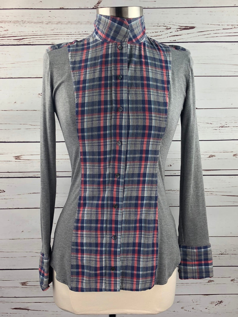Le Fash Open Placket Shirt in Heather Plaid - Women's Large