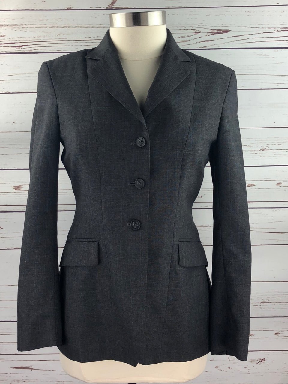 Heythrop Hunt Coat in Charcoal Plaid - Women's 12 (US 6 Slim)