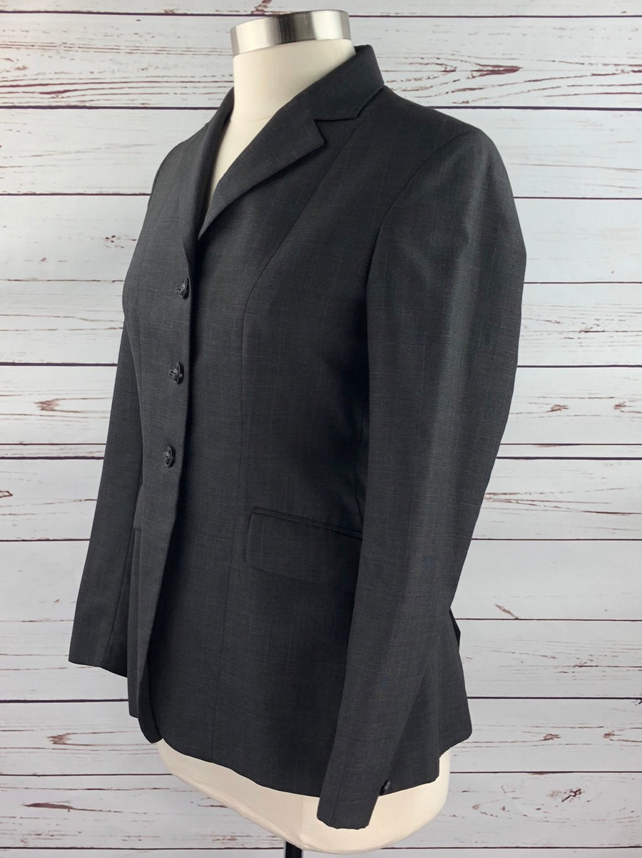 Heythrop Hunt Coat in Charcoal Plaid -Left Side View