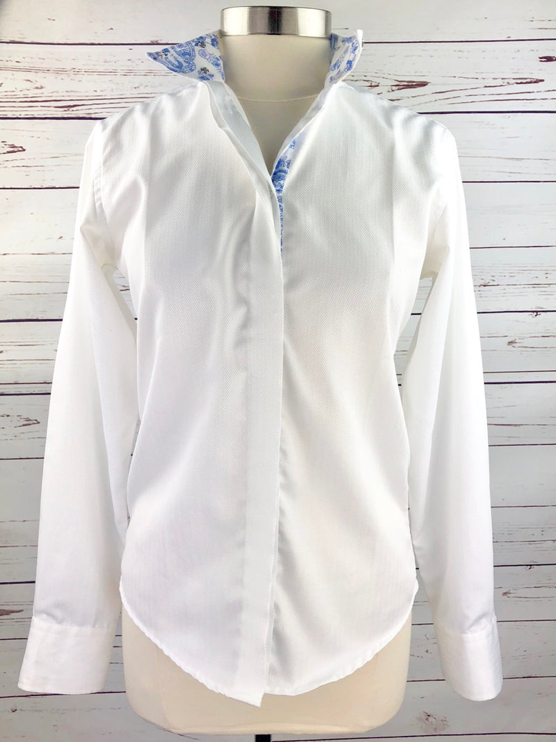 Royal Highness Equestrian Wrap Collar Show Shirt in White/Blue Paisley - Women's 34