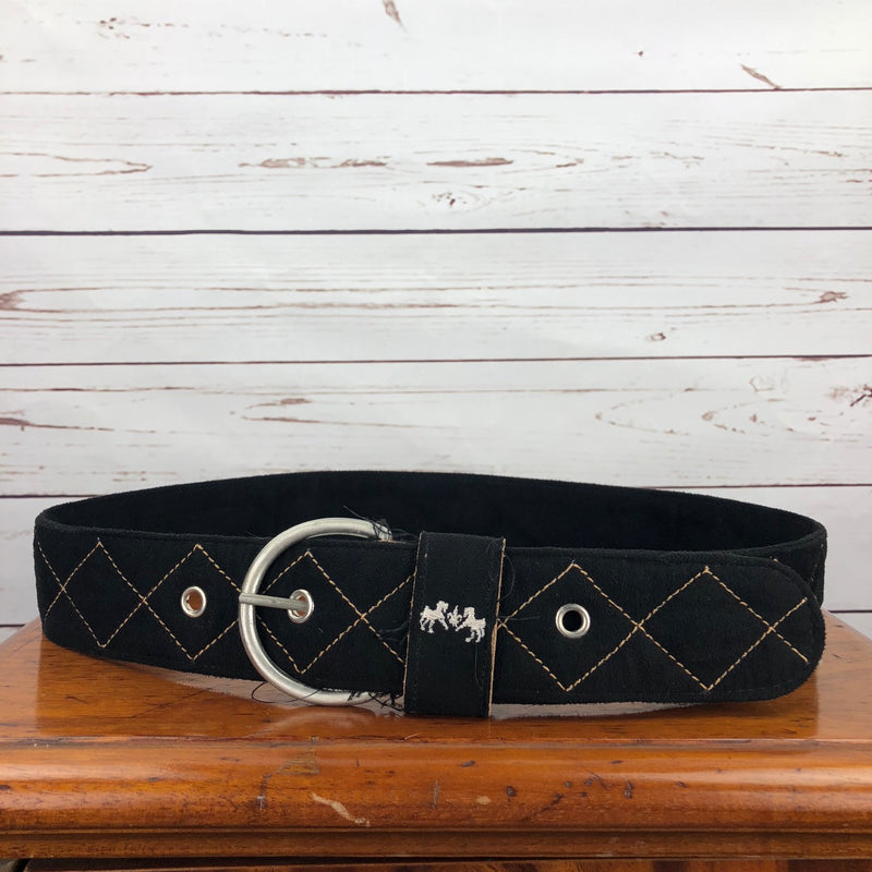 Equine Couture Diamond Quilted Suede Belt in Black - Women's Large