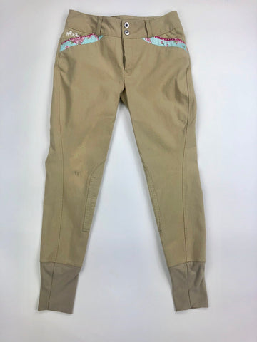 Equine Couture Bindia Breeches in Safari/Angel Blue - Front View