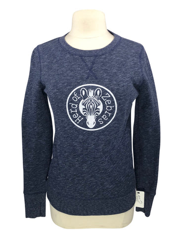 Herd of Zebras Thumb Hole Crew in Navy Heather - Adult Small