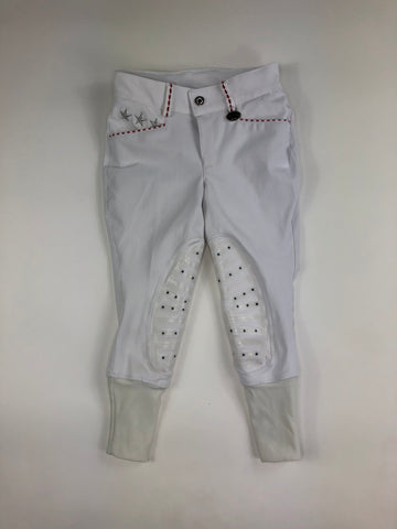 Equine Couture Stars and Stripes Knee Patch Breeches in White -  Front View