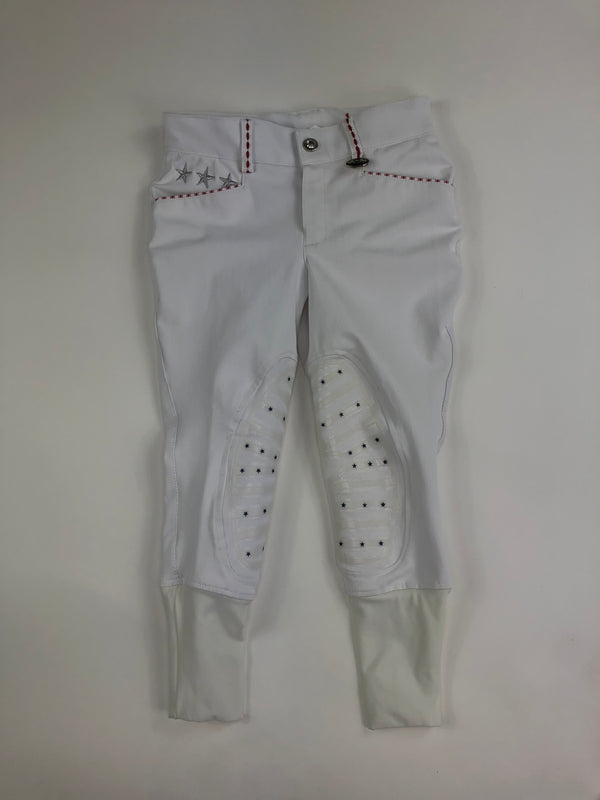 Equine Couture Stars and Stripes Knee Patch Breeches in White - Children's 6