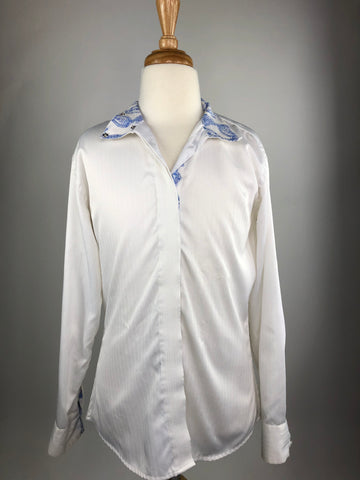 Royal Highness Show Shirt in White/Blue Floral - Children's 12 | M