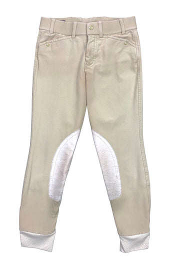 front view of Ariat Heritage Elite Knee Patch Breeches in Tan - Children's 10 | M