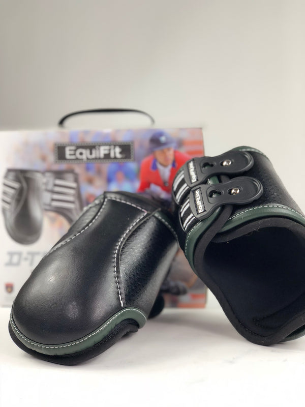 EquiFit D-Teq Hind Boots in Black Ostrich/Green Binding - Size XL