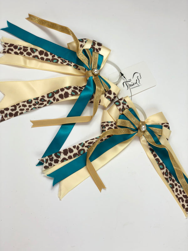 Show Bows in Yellow/Teal/Leopard - One Size