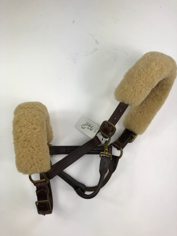 Leather Halter w/Fleeces in Brown - Horse Size
