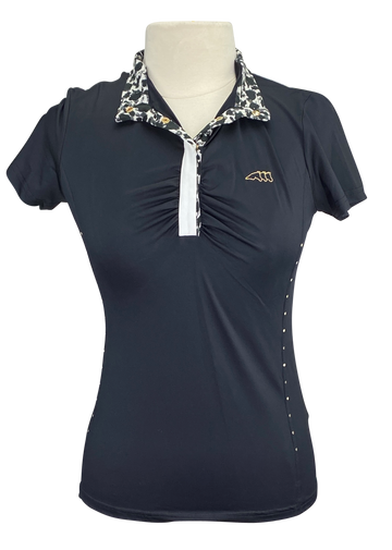 Front of Equiline 'Angie' Show Polo in Black - Women's Small